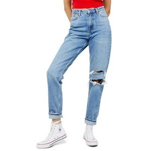 NEW Topshop Seoul Ripped Mom Jeans Distressed 26